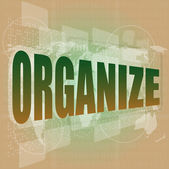 Social concept: word organize on digital touch screen background — Stok fotoğraf
