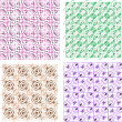 Seamless vintage wallpaper pattern, set of four colors — Stock Photo