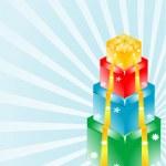 3d gift box set in blue starburst — Stock Photo #20111635