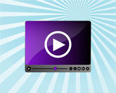 Media player interface on blue ray background — Stock Photo