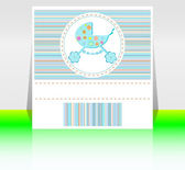 Babies boy blue invitation card - baby arrival — Stock Photo
