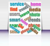 ソーシャル メディアをテーマにキーワードと紙の部分をカットします。 — ストック写真