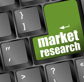 Market research word button on keyboard with soft focus — Stock Photo