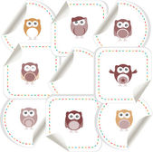 Set of doodle owls for funny decoration, such a logo. stickers set — Stock Photo