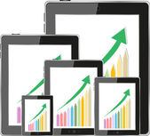 Modern digital tablet PC showing success growth chart on a screen. Isolated on white — Stock Photo