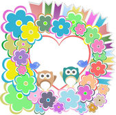Owls, birds love heart and flowers — Stock Photo