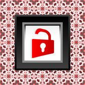 -赤い開いた南京錠アイコンを保護します。 — ストック写真