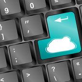 Cloud computing concept on computer keyboard — Stock Photo