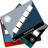 Media player with extra controls in different colors - digital set — Stock Photo