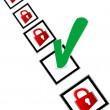 Check box with red and green check mark — Stock Photo