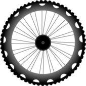 Vector bike wheel black silhouette — Stock Photo