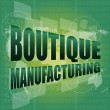 Stock Photo: Words boutique manufacturing on touch screen technology background