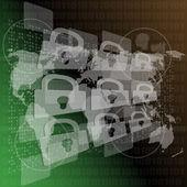 Security concept: Lock on digital screen, contrast, 3d — Foto de Stock