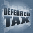 Deferred tax words on digital screen with world map — Stock Photo #21782333