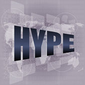 Hype word on digital screen background with world map — Stok fotoğraf
