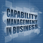 Capability management in business words on touch screen interface — Stock Photo