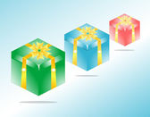 Gift Box: A gift box in 3 color versions — Stock Photo