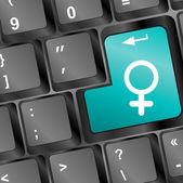 Venus symbol in blue on white computer key — Stock Photo