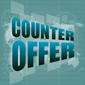 Counter offer words on digital screen background with world map — Stock Photo