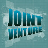 Joint venture words on digital screen background with world map — Stock Photo