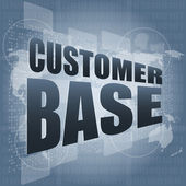 Customer base words on digital screen with world map — Stock Photo