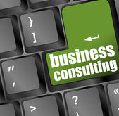 Computer keyboard with business consulting key. business concept — Stock Photo