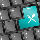 Utensil Icon on Computer Keyboard Original Illustration — Stock Photo