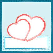 有两个心脏轮廓美丽抽象背景 — 图库照片