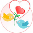 Red love bird with heart balloons over beige background — Stock Photo #22140987