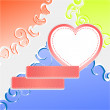 Cute doodle romantic abstract background with heart — Foto Stock