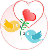 Red love bird with heart balloons over beige background — Stock Photo