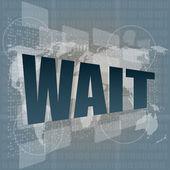 デジタル スクリーン、ビジネスおよび社会的な概念の言葉を待つ — ストック写真