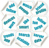 Social media concept in word tag stickers — Stock Photo