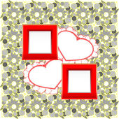 Photo frames and heart on vintage background — Stock Photo