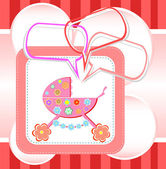 Baby girl card, child arrival announcement card — Stock Photo