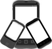 Sada realistické mobilního telefonu s prázdnou obrazovkou izolovaných na bílém pozadí — Stock fotografie