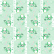 Seamless cute owl and birds pattern for baby boy — Stock Photo