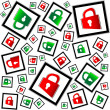 Stock Photo: Red and green padlocks seamless vector pattern - security concept