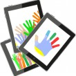 Touch tablet pc computer modern technology with hands — Stock Photo