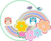 Background with owl, flowers and birds — Stock Photo