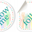 Follow me stickers label set — Stock Photo