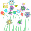 Cute kids background with flowers and birds — Stock Photo