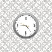 Grey clock on wall pattern style background — Stock Photo