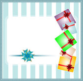 Holiday background with blue gift bow and gift boxes — Stock Photo