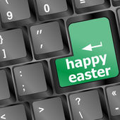 Happy Easter text button on keyboard with soft focus — Stock Photo