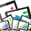 Tablet pc and business graph on screen. 3d — Stock Photo #22492365