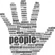 Like hand symbol with tag cloud of social word - Stock Photo