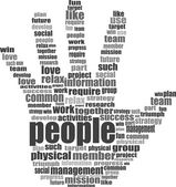 Like hand symbol with tag cloud of social word — Stock Photo