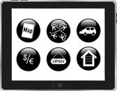 Black icons on tablet pc screen — Stock Photo