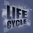 Life cycle words on digital touch screen - Foto Stock